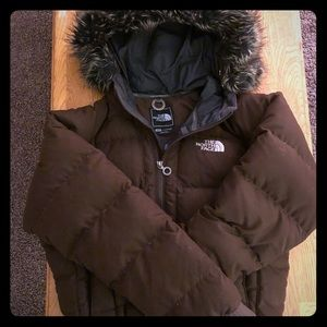 The North Face brown fur hood puffer jacket
